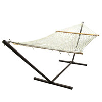 Sunnydaze 2 Person Polyester Spreader Bar Rope Hammock with 15 Foot Steel Stand, Natural