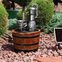 Old Fashioned Water Pump with Barrel Solar on Demand Outdoor Water Fountain