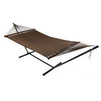 Sunnydaze Large 2 Person Soft-Spun Polyester Spreader Bar Rope Hammock with Stand, 350 Pound Capacity