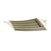 Sunnydaze Candy Stripe Cotton Fabric Hammock with Spreader Bars and Pillow