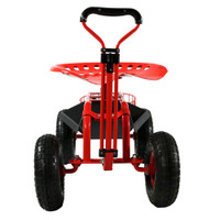 Sunnydaze Rolling Garden Cart With Extendable Steering Handle, Swivel Seat  U0026 Planter Basket