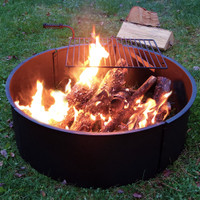 Sunnydaze 36 Inch Diameter Steel Campfire Ring with Rotating Detachable Cooking Grate