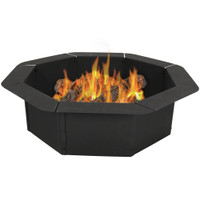 Sunnydaze Octagon Heavy-Duty Steel Fire Pit Ring/Liner DIY Fire Pit, 2.2 mm Thick Steel, 30 Inch Inside Diameter