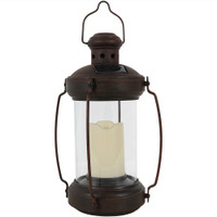 Sunnydaze 12-Inch Outdoor Antique Hanging Solar Lantern with Candle and LED Light