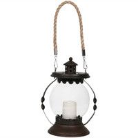 Sunnydaze 14-Inch Outdoor Glass Globe Solar Lantern with Candle and LED Light
