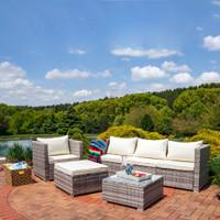 Sunnydaze Boa Vista Wicker Rattan 6-Piece Sofa Patio Furniture Set with Beige Cushions