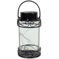 Sunnydaze 9-Inch Outdoor Scroll Design Solar Lantern with Warm White 10-LED Light String
