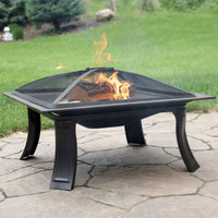 Sunnydaze 26-Inch Portable Square Campfire On-The-Go Fire Pit with Spark Screen and Carrying Case