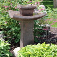 Sunnydaze Modern Zen 2-Tier Outdoor Water Fountain, 30-Inch Tall