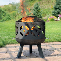 Retro Fireplace Cast Iron Outdoor Fire Pit with Ring and Spark Screen
