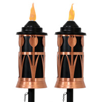 Copper Outdoor Torch in Copper with Tulip Jar Design, Set of 2