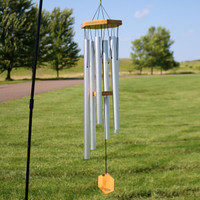 33-Inch Hand-Tuned Hexagon Wind Chime, Silver