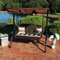 2-Person Outdoor Rattan Swing