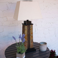 Outdoor Solar Table Lamp with 2-Tone Slate Base and Fabric Shade