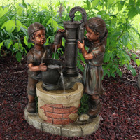 Jack and Jill at Farmhouse Pump and Well Outdoor Water Fountain