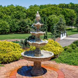 Sunnydaze 4-Tier Grand Courtyard Fountain, 80 Inch Tall, Earth Finish