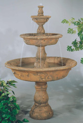 Cast Stone Triple Tazza Tiered Fountain by Henri Studio
