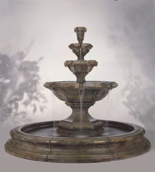 Henri Studio Cast Stone Grande Kensington Three Tier Fountain in Pool
