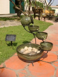 Smart Solar Green Bamboo Cascade Solar Fountain