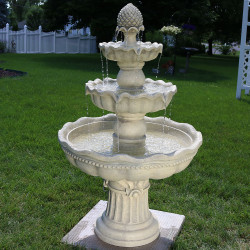 Sunnydaze 3-Tier Pineapple Garden Fountain, White, 51 Inch Tall