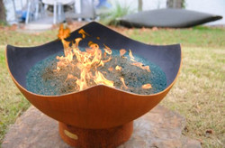 Manta Ray Gas Fire Pit by Fire Pit Art