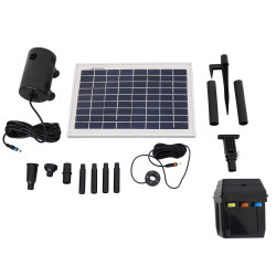 Sunnydaze Solar Pump and Solar Panel Kit With Battery Pack, LED Light  200 GPH, 80-Inch Head