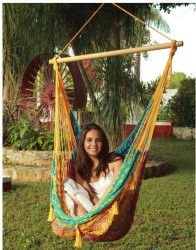 Sunnydaze Extra Large Mayan Hammock Chair, Comfortable Hanging Swing Seat Cotton/Nylon Rope, Lightweight