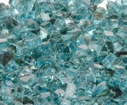 """1/4"""" Caribbean Blue Metallic Fire Glass"""
