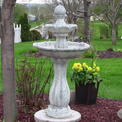 Sunnydaze 2-Tier Arcade Solar on Demand Outdoor Water Fountain with LED Light, White Finish, 45 Inch Tall