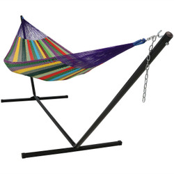 Sunnydaze Hand-Woven 2 Person Mayan Hammock with Stand, Matrimonial Size, 400 Pound Capacity