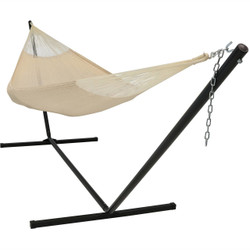 Sunnydaze Hand-Woven 2 Person Mayan Hammock with Stand, Family Size, 400 Pound Capacity