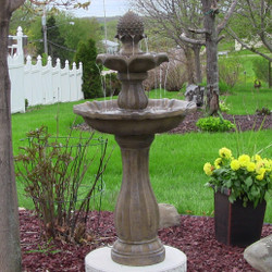 Sunnydaze Two-Tier Pineapple Solar-on-Demand Fountain, Earth Finish, 46 Inch Tall