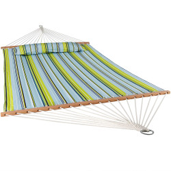 Sunnydaze 2 Person Quilted Fabric Hammock with Spreader Bars, Blue and Green