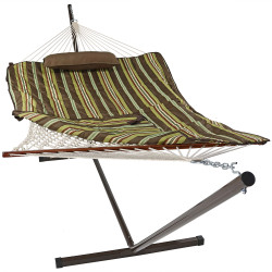 Sunnydaze Desert Stripe Cotton Rope Hammock with 12 Foot Steel Stand, Pad and Pillow, 275 Pound Capacity