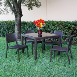 Miami Wickerlook Square Dining Set (Five Pieces)