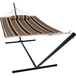 Sunnydaze 2 Person Freestanding Quilted Fabric Spreader Bar Hammock, Choose from 12 or 15 Foot Stand, Sandy Beach