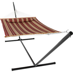 Sunnydaze 2 Person Freestanding Quilted Fabric Spreader Bar Hammock, Choose from 12 or 15 Foot Stand, Red Stripe