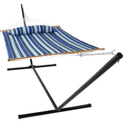 Sunnydaze 2 Person Freestanding Quilted Fabric Spreader Bar Hammock, Choose 12 or 15 Foot Stand, Catalina Beach