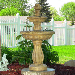 Sunnydaze, Two Tier Tulip Solar on Demand Fountain, 36 Inch Tall, Earth