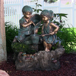Boy and Girl Playing in Water Outdoor Water Fountain with LED Light by Sunnydaze Decor