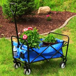 Sunnydaze Folding Utility Wagon Garden Cart, 150 Pound Weight Capacity