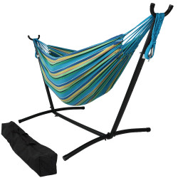 Sunnydaze Brazilian Double Hammock with Stand- 2-Person, for Indoor or Outdoor Use
