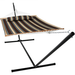 Sunnydaze 2 Person Freestanding Quilted Fabric Spreader Bar Hammock, Choose from 12 or 15 Foot Stand, Rocky Beach