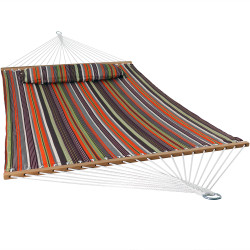 Sunnydaze 2 Person Quilted Fabric Hammock with Spreader Bars, Canyon Sunset