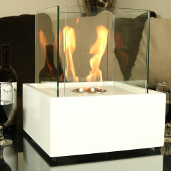 Sunnydaze Large Cubic Ventless Tabletop Bio Ethanol Fireplace, White