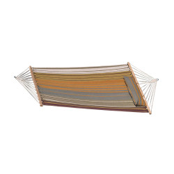 Sunnydaze Cotton Fabric Spreader Bar Hammock and Detachable Pillow, Sunset Beach, 300 Pound Capacity