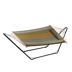 Sunnydaze Cotton Fabric Hammock and Detachable Pillow with 10 Foot Stand, Sunset Beach, 300 Pound Capacity