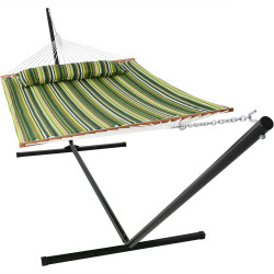 Sunnydaze 2 Person Freestanding Quilted Fabric Spreader Bar Hammock, Choose From 12 or 15 Foot Stand,  Melon Stripe