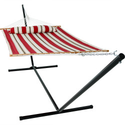 Sunnydaze 2 Person Freestanding Quilted Fabric Spreader Bar Hammock, Choose from 12 or 15 Foot Stand, Peppermint Stripe