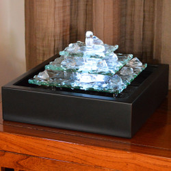 Bluworld Glacier Ice Lighted Glass Bubbling Tabletop Water Fountain